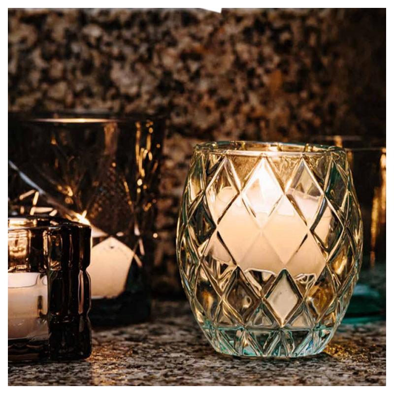 Recipient Decorativ / Suport Lumanari - Turquoise (Sticla)